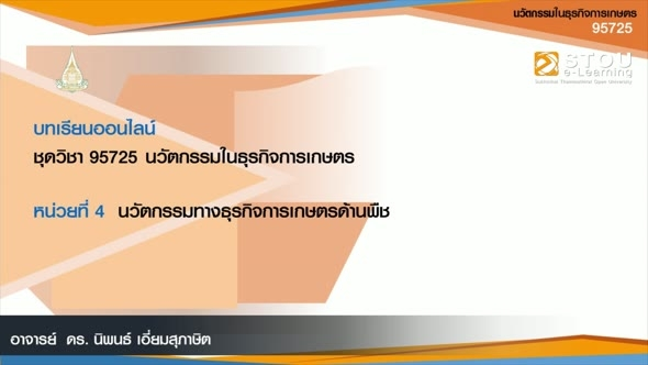 95725 โมดูล 3 หน่วยที่ 4 นวัตกรรมทางธุรกิจการเกษตรด้านพืช