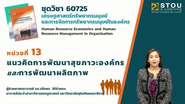 60725 โมดูล 9 สรุปเนื้อหาหน่วยที่ 13 แนวคิดการพัฒนาสุขภาวะองค์กรและการพัฒนาผลิตภาพ