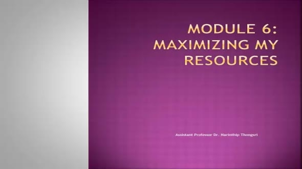 14111 Module 6 Maximizing My Resources