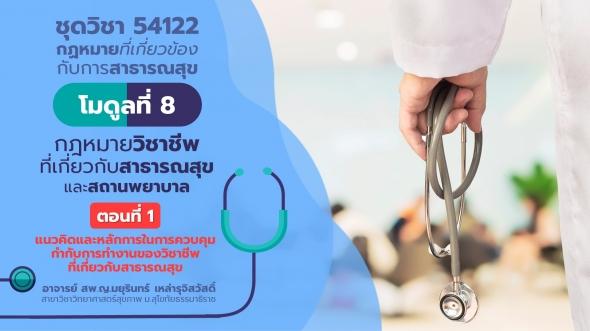 54122 โมดูลที่ 8 ตอนที่ 1 กฎหมายวิชาชีพที่เกี่ยวกับสาธารณสุขและสถานพยาบาล