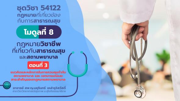 54122 โมดูลที่ 8 ตอนที่ 3 แนวคิดและหลักการในการควบคุมกำกับสถานพยาบาล และ เจตนารมณ์และสาระสำคัญของกฎหมายสถานพยาบาล