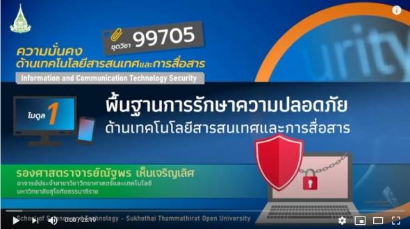 มสธ. 99705 โมดูล 1 พื้น,ฐานการรักษาความปลอดภัยด้านเทคโนโลยีสารสนเทศและการสื่อสาร