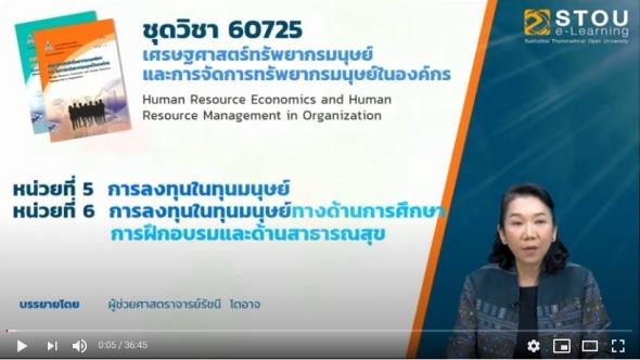 มสธ. 60725 โมดูล 4 หน่วยที่5 เศรษฐศาสตร์ทรัพยากรมนุษย์และการจัดการทรัพยากรมนุษย์ในองค์กร