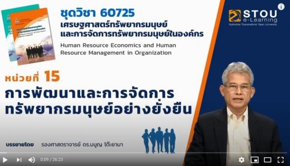 ◣ มสธ.◢ 60725  โมดูล 10 หน่วยที่ 15 เศรษฐศาสตร์ทรัพยากรมนุษย์และการจัดการทรัพยากรมนุษย์ในองค์กร