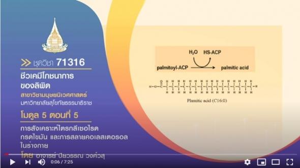 มสธ. 71316โมดูล 5 ตอนที่ 5 การสังเคราะห์ไตรกลีเซอไรด กรดไขมัน และการสลายคอเลสเตอรอลในร่างกาย