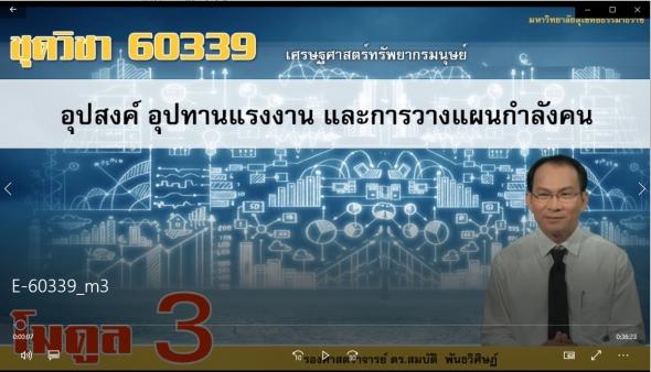 60339 โมดูล 3 อุปสงค์ อุปทานแรงงาน และการวางแผนกำลังคน