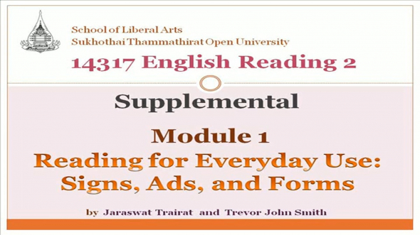 14317 Module 1 Reading for Everyday Use:Signs, Ads, and Forms