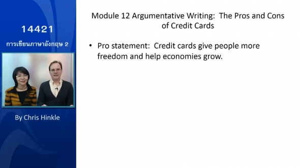 14421 Module 12 Argumentative Writing The Pros and Cons of Credit Cards