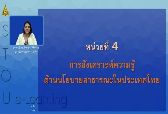 33905 หน่วยที่ 4 การสังเคราะห์ความรู้ด้านนโยบายสาธารณะในประเทศไทย