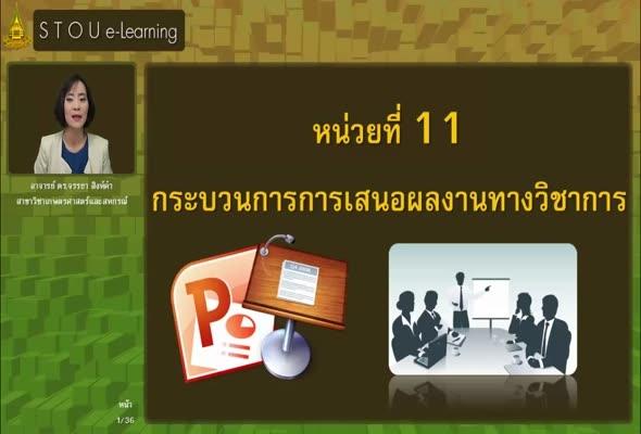 95712 หน่วยที่ 11 กระบวนการการเสนอผลงานทางวิชาการ