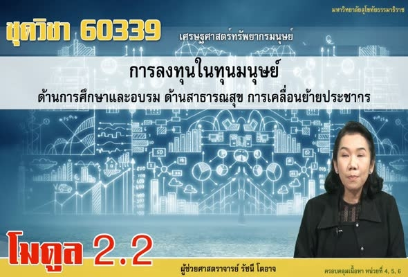 60339 Module 2.2 การลงทุนในมนุษย์ด้านการศึกษาและอบรมด้านสาธรณสุขการเคลื่อนย้ายประชากร
