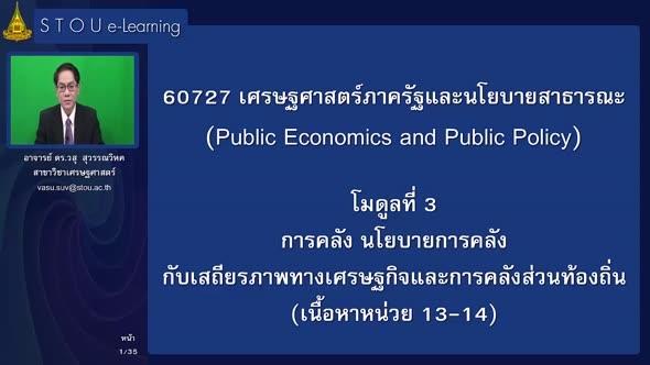 60727 โมดูลที่ 3 การคลัง นโยบายการคลังกับเสถียรภาพทางเศรษฐกิจและการคลังส่วนท้องถิ่น (เนื้อหาหน่วยที่ 13-14)