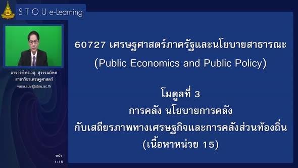 60727 โมดูลที่ 3 การคลัง นโยบายการคลังกับเสถียรภาพทางเศรษฐกิจและการคลังส่วนท้องถิ่น (เนื้อหาหน่วยที่ 15)